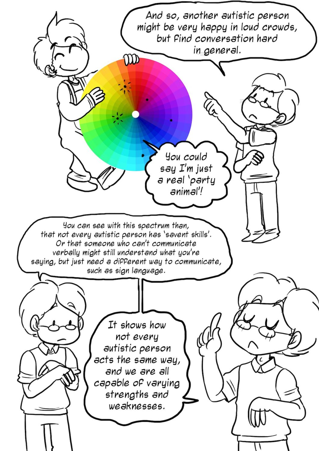 A cartoon to explain autistic spectrum conditions (ASC), courtesy of The Mighty.