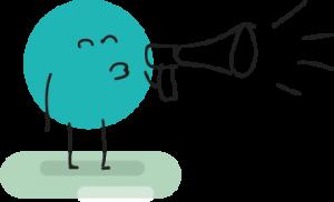 Happy speaking through a megaphone